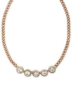 Jessica Simpson Necklace, Rose Gold-Tone Faceted Glass Crystal Frontal Necklace $28