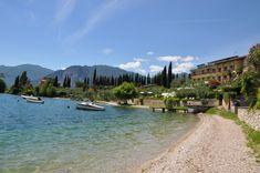 Der Strand des Hotel Val di Sogno am Gardasee. Ein eigener Wasserzugang ist am Gardasee sehr selten.