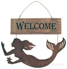 Mermaids Welcome Wood Sign Wood Sign at AllPosters.com