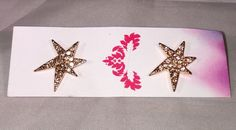 Jules Smith 14k Rose Gold Plated Star Earrings Studs Champagne Crystals Designer | eBay