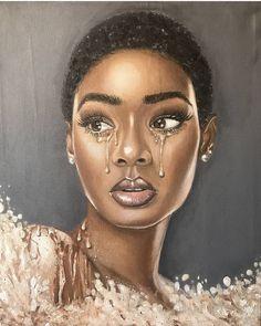 Image may contain: 1 person, closeup Black Love Art, Black Girl Art, African Art Paintings, Plus Size Art, Lotus Art, Black Art Pictures, Black Cartoon, Fanart, Black Artwork