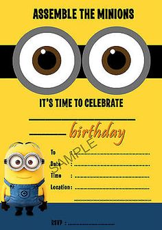 MINIONS DESPICABLE ME PARTY INVITATIONS CHILDRENS INVITES BIRTHDAY A5 GLOSSY UK