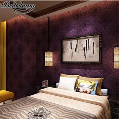 45.00$  Watch here - beibehang Pleasant purple wallpaper modern simple bedroom living room TV background wallpaper large flower non - woven wallpaper  #magazineonlinewebsite