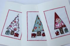 Free-hand machine embroidered fabric Christmas cards
