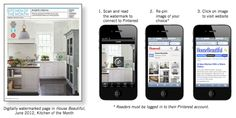 "Creative.  House Beautiful launching first 'Pinterest-enabled print magazine' allowing readers to scan the first page of the ""Kitchen of the Month"" feature with a smartphone app to connect to a Pinterest pinboard."
