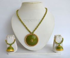 Classic Paper Quilling Necklace & Earrings Set - Quilled Jewellery