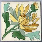 SARREGUEMINES faiance Germany Art Nouveau Tile Flower yellow