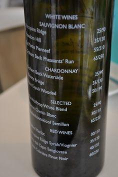 menu on wine bottle or inside clear wine bottle -  for hotels in Wine regions / close to vineyards