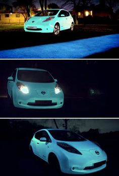 Nissan's Glow-In-The-Dark Car Paint, Ultraviolet-energised paint, Futuristic Car, Nissan Leaf