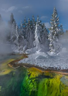 West Thumb Geyser Basin in February (Yellowstone, Wyoming) by Perri Schelat on 500px