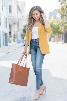 1454c37f2b Business Casual Work Outfit Ideas for women Miss Louie Blogger Business  Casual Jeans