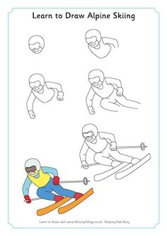 Learn to draw alpine skiing: winter olympic crafts for kids Ski Drawing, Drawing Step, Olympic Crafts, Drawing Lessons For Kids, Winter Art Projects, Alpine Skiing, Art Lessons Elementary, Winter Olympics, Business For Kids