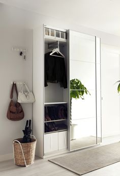 Ikea PAX wardrobe for storage in the hallway. Ikea Hallway, Hallway Storage, Storage Mirror, Storage Room, Ikea Entryway, Hallway Closet, Ikea Storage, Bedroom Organization, Ikea Pax