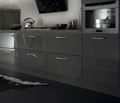 Metro High Gloss Kitchen in Lava dark grey | Kitchen and Bedroom Store