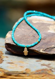 Turquoise with Diamond Yoga Hamsa Hand Fine by HappyGoLuckyJewels