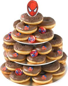 Spiderman Birthday Cake Chocolate Donut Tower DIY with cake boards from variety store, Chocolate donuts via Dreamy Donuts, Donut King or Dunkin Donuts. Spiderman party products BUY online  at www.24-7partypaks.com.au SHOP. Pop in the top of the donuts. Too busy to creat your own donut Tower buy it from Donut King direct http://www.donutking.com.au/index.php?option=com_content=article=71=51