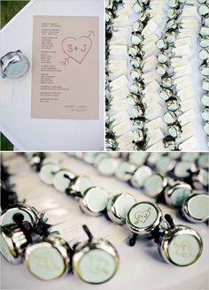 #Bike bells as #wedding favors.