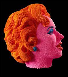༻❁༺ ❤️ ༻❁༺ Sculpture Marilyn Head   David Mach  (Matches Art) ༻❁༺ ❤️ ༻❁༺