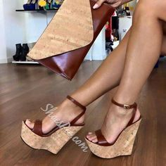 Ankle Strap Platform Line-Style Buckle White Wedge Sandals Strappy Wedge Heels, White Wedge Sandals, Platform Wedges Shoes, White Wedges, Ankle Strap Wedges, Wedge Shoes, High Heels, Heeled Sandals, Stilettos