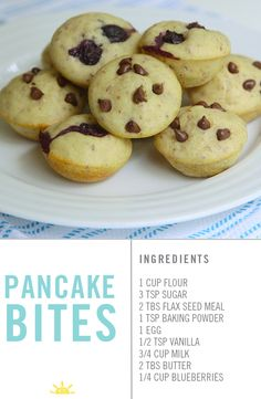 Little round pancake bites are a fun twist on the usual breakfast suspect. They can be made in a donut hole pan or a muffin tin. Mug Recipes, Baby Food Recipes, Snack Recipes, Dessert Recipes, Desserts, Breakfast Options, Breakfast For Dinner, Breakfast Recipes, Toddler Friendly Meals