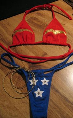 04fb9f372b36 Wonder Woman Bikini Red Bikini, Silver Sequin, Red White Blue, Costumes For  Women
