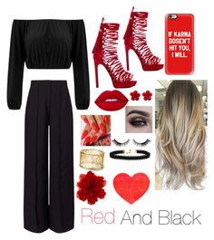 """Red and Black"" by aleezak04 on Polyvore featuring Miss Selfridge, Jeffrey Campbell, Casetify, Lime Crime, Vanessa Mooney, Chanel, Gucci and ban.do"