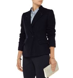 NWT VINCE Bouclé Wool Blend - Lined - Slim Fit Jacket Blazer. Vince midnight-blue jacket. COLOR: midnight-blue (NAVY). 50%, 47% acrylic, 3% polyamide; lining: 100% polyester. Button cuffs, flap pockets, fully lined.   eBay!