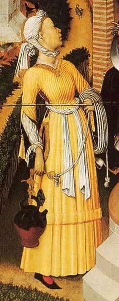 1445-1452 Bernat Martorell, Altar of the Transfiguartion Barcelona Cathedral  Föreställer kvinnan vid Sykars brunn.