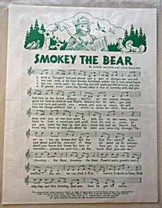 1976 Print Vintage sheet Music SMOKEY The BEAR  by 1kingsdaughter, $6.50 Us Department Of Agriculture, Us Forest Service, Smokey The Bears, Vintage Sheet Music, Single Sheets, Conservation, Walking, Songs