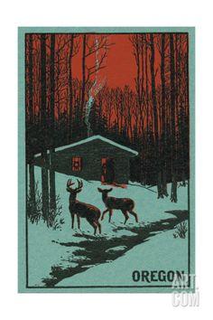 Deer and Cabin in Winter - Oregon Woodblock Print