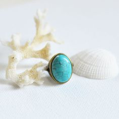 Sea Breeze // The ring of metal with brass cabochon by OhKsushop