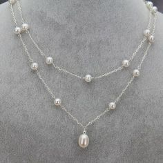 Freshwater Pearl Double Station Necklace with Drop - Katie necklace Real Pearl Necklace, Diamond Cross Necklaces, Diamond Solitaire Necklace, Pearl Jewelry, Wedding Jewelry, Fine Jewelry, Jewelry Making, Diy Schmuck, Schmuck Design