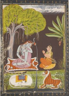 AN ILLUSTRATION DEPICTING SHIVA AND PARVATI  Estimate  2,500 — 3,500  USD   LOT SOLD. 2,500 USD