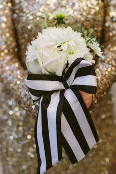Glamorous Wedding Bouquet: Cream Roses, White Chrysanthemums, Hand Tied With Satin Black/White Ribbon>>>>