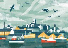 Penzance Harbour illustration by Matt Johnson for Seasalt Cornwall's 35th birthday.