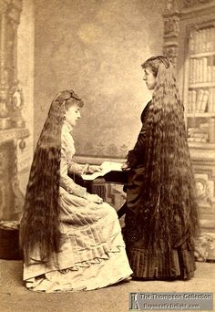 Young ladies with long hair