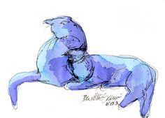 Daily Sketch Reprise: Blue Purple Cats and More
