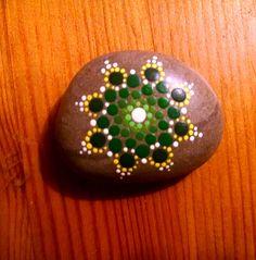 Beach Stone ~ Green Flower Mandala Style ~ Painted Pocket Pointillism Pebble ~ by Miranda Pitrone rocks/dot art/dotillism by P4MirandaPitrone on Etsy