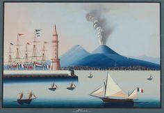 1900 Gouache IL Vesuvio