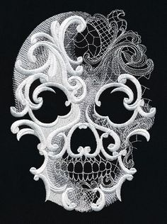 Machine Embroidery Designs Urban Threads - Such intricate detailing. Halloween Candy Bags, Halloween Skull, Totenkopf Tattoos, Urban Threads, Skull Tattoos, Lace Skull Tattoo, Art Tattoos, Tatoos, Skull Design