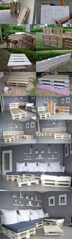 Sofá cama con palés - selfio.de #palets #pallets #palletfurniture #palletwood #reciclar