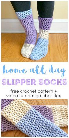 Home All Day Slipper Socks! Home All Day Slipper Socks, free crochet pattern + full video tutorial on Fiber Flux Crochet Sock Pattern Free, Crochet Slipper Pattern, Free Crochet, Knit Crochet, Free Pattern, Crochet Socks Tutorial, Learn Crochet, Knitting Patterns, Crochet Patterns