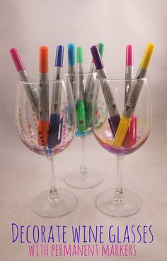 Sharpie wine glasses use sharpie oil based markers for How to decorate wine glasses with sharpies