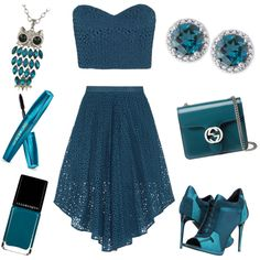 teal outfit by alexia7528 on Polyvore featuring polyvore fashion style TIBI Burberry Gucci Illamasqua