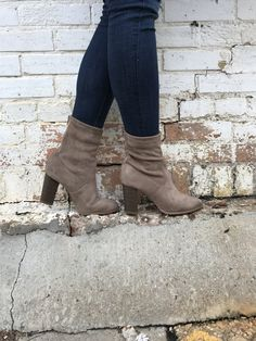 "These ""go go"" inspired suede booties will drop some jaws this winter season! Pair with a solid color dress and our Fuzzy Pink Cardigan for a date night look! - faux suede - pointed toe - back zipper c"