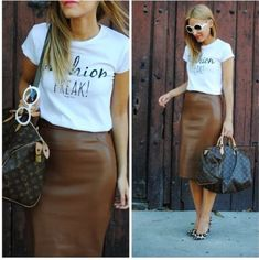 Zara Brown Faux Leather Pencil Skirt #ZARA #Pencil #Casual