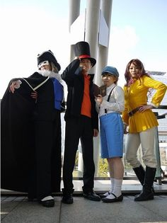 From left to right. Descole, Professor Layton, Luke Triton, and Emmy Altava.