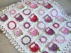 сова мотив вязаное детское одеяло