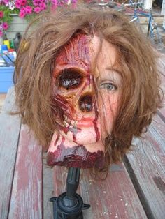 More ingenuity of this guy's work!  A beauty school mannequin transformed into something grotesque for a Halloween prop!