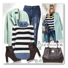 """Stripe & Denim 2 in 1 Top"" by brendariley-1 ❤ liked on Polyvore featuring WithChic, Dorothy Perkins, Bogner, L.K.Bennett and Relic"
